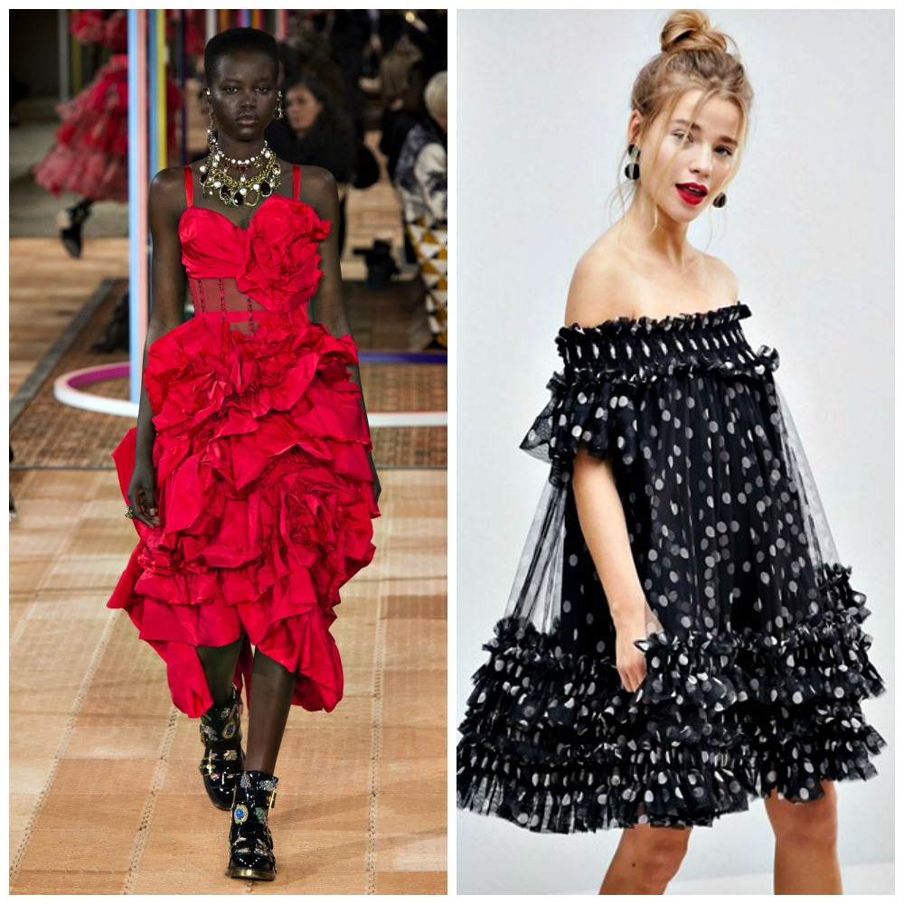 Left: Alexander McQueen Spring 2018  Right: Asos Bardot Tulle Mini Dress, $119