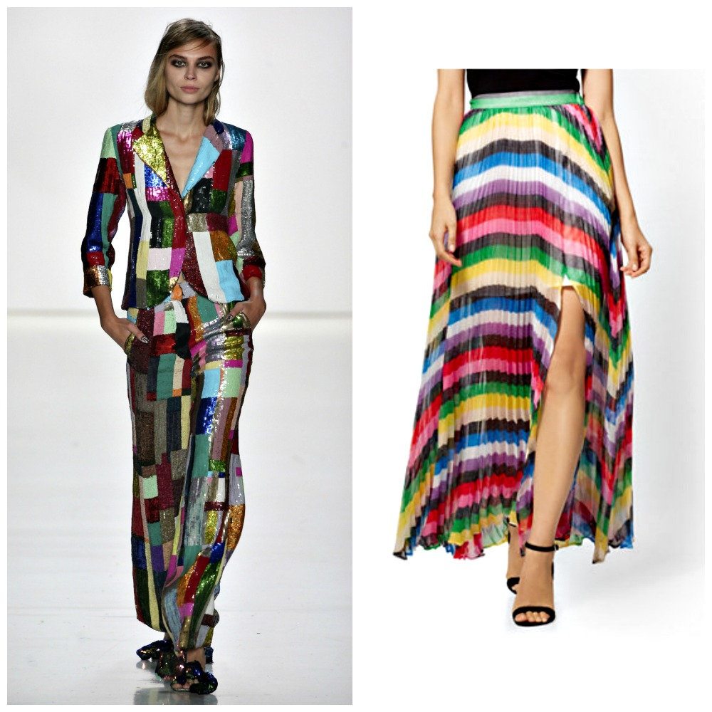 Left: Libertine Spring 2018  Right: New York & Company Rainbow Striped Pleated Skirt, $74.95