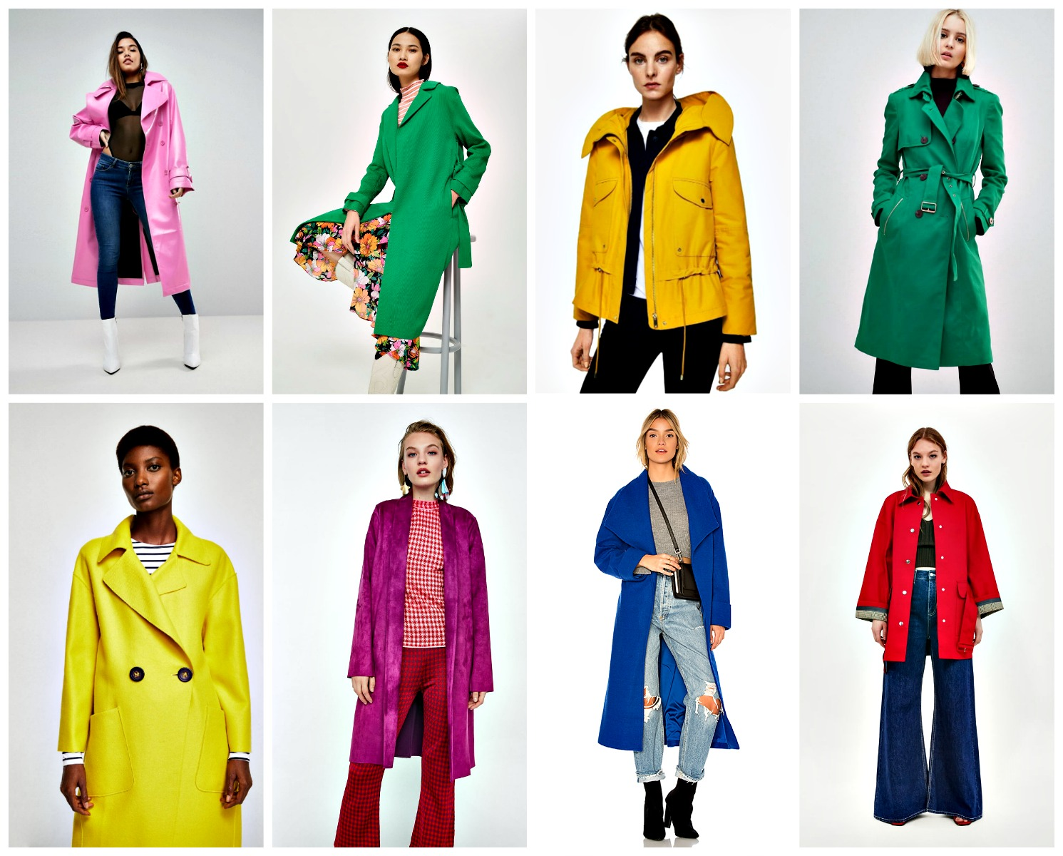 From left to right:   ASOS Oversized Vinyl Trench Coat  , $143, T  opShop Plisse Belted Duster Coat  , $110,   Mango Pockets Cotton Parka  , $119,   River Island Double Breasted Trench Coat  , $135,   Mango Unstructured Wool Blend Coat  , $149,   Zara Faux Suede Coat  , $49 (come in other colors as well),   Revolve Maddie Coat  , $100 (on sale),   Zara Contrasting Trench Coat  . $179