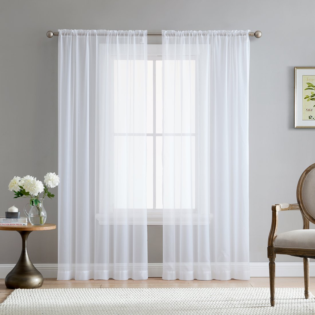 HCL.ME Sheer Curtain Voile Panel (set of 2), $12.99