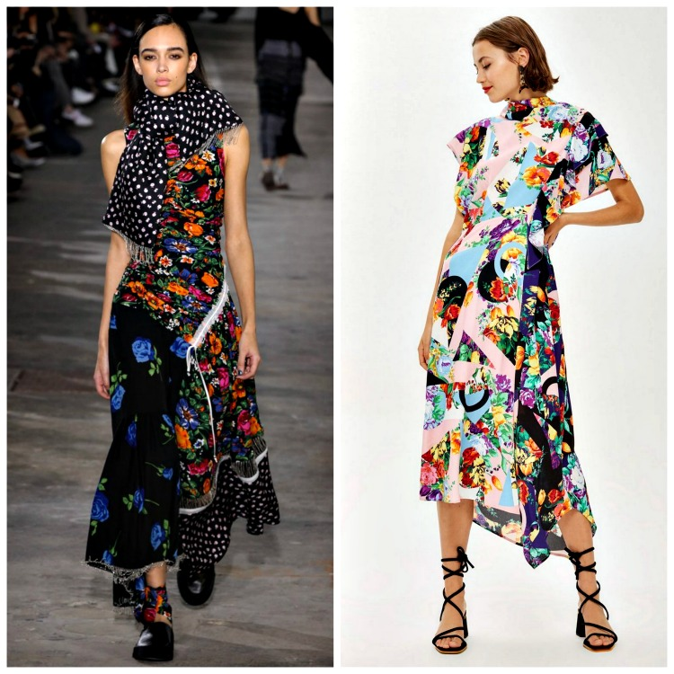 From left to right: Phillip Lim Fall 2018;  TopShop Floral Print Cowl Back Midi Dress , $95