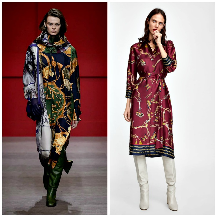 From left to right: Salvatore Ferragamo Fall 2018;  Zara Chain Printed Shirt Dress , $ 69.90
