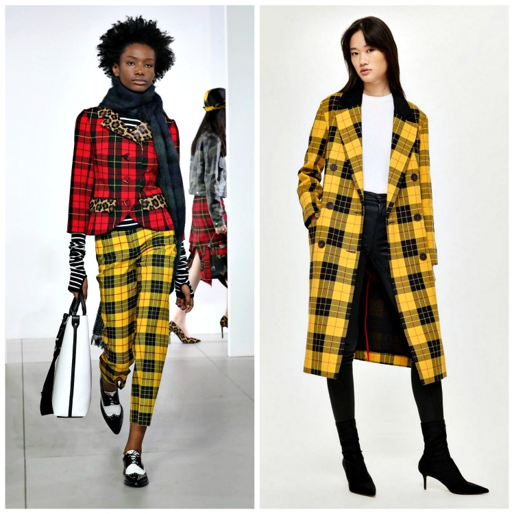 From left to right: Michael Kors Fall 2018;  TopShop Yellow Tartan Coat , $150