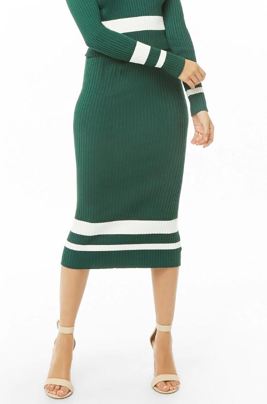 Forever 21 Knit Varsity Striped Midi Skirt, $32
