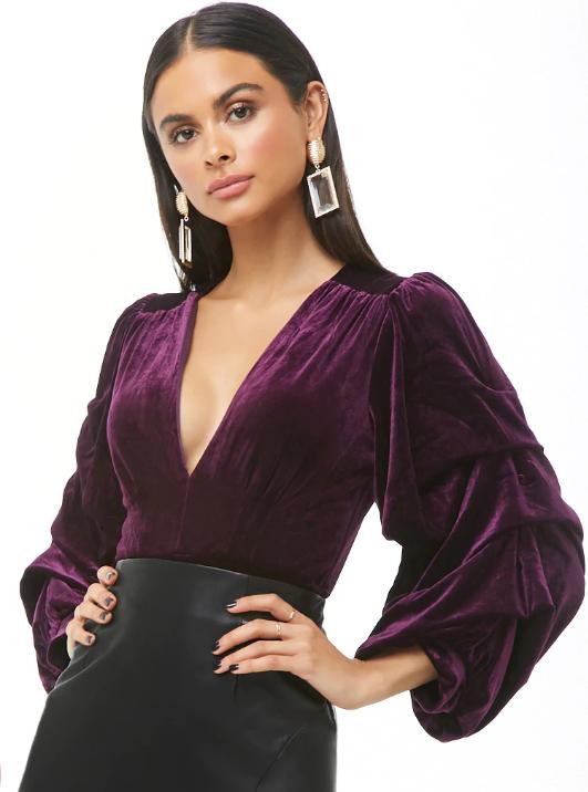 Forever 21 Gathered Sleeve Velvet Bodysuit, $42