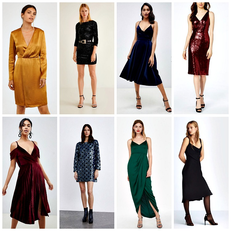 From left to right:   H&M V-Neck Dress, $59.99;       Mango Sequin Dress, $79.99; ASOS Design Velvet Cami Midi Dress, $87   ;    Nightway Petite Sequin Sheath Dress, $97.99   ;    ASOS Design Pleated Velvet Midi Dress, $72   ;    Zara Sequin Dress, $69.90   ;    Express Satin Faux Wrap Maxi Dress, $88   ;    Mango Satin Dress, $99.99