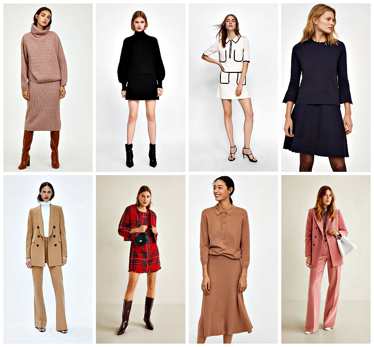 From left to right: H&M Sweater and skirt set (sold out); Zara    Puff Sleeve Sweater    and    Skirt   ; Zara Contrast Piping    Top    and    Mini Skirt   ; H&M    Trump Sleeve Top    &    Flared Skirt   ; Zara    Tuxedo Blazer    and Pants; Mango    Plaid Tweed Dress    and    Jacket   ; H&M    Collared Jumper    and    Circle Skirt   ; Mango    Corduroy Structured Blazer    and    Straight Trousers