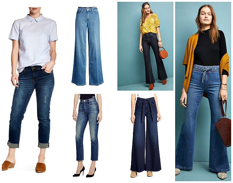 From left to right:  KUT for the Kloth Katy Boyfriend Jeans, $40    nordstromrack.com   ; Paige Sutton High-Rise Wide Leg Jeans (Kendra) sold out, similar pair sold    here    at Anthropologie.com; AG The Quinne High-Rise-Flare-Jeans, $215,    Anthropologie.com   ; Joe's the High-Rise Flare Jeans, $208,    Anthropologie.com   ; FRAME Belted Palazzo Jeans, $250,    nordstrom.com   ; MOTHER The Dazzler Shift High Waist Ankle Jeans; $268,    nordstrom.com