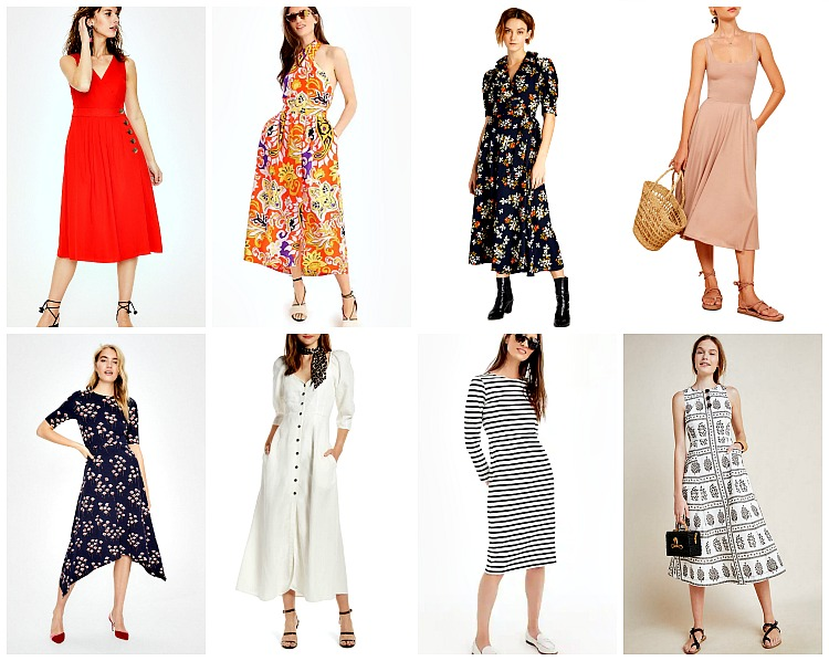 From left to right:   Boden Arwen Midi Dress   , $65;    J.Crew Silk Sarong Maxi Dress  , $225;   Jill Jill Stuart Ellie Dress  , $348;   Reformation Rou Midi Fit & Flare Dress   , $98;    Boden Leonie Ponte Midi Dress  , $68;   Something Navy Puff Sleeve Dress   , $99; J.    Crew Long Sleeve Striped Dress  , $88; *  Anthropologie Woodblock Midi Dress  , $89.95