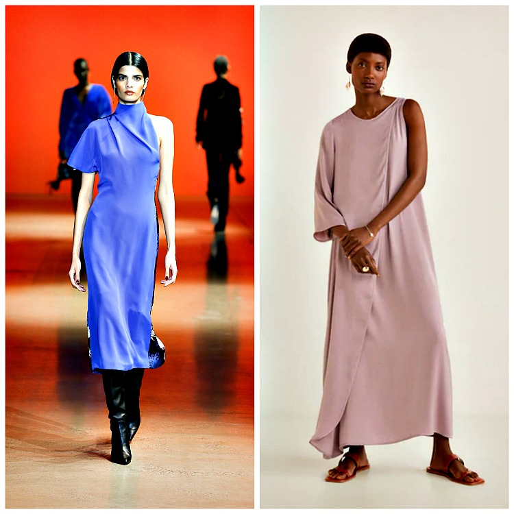Left: Cushnie Fall 2019 ; Right: Mango Silk Asymmetrical Dress