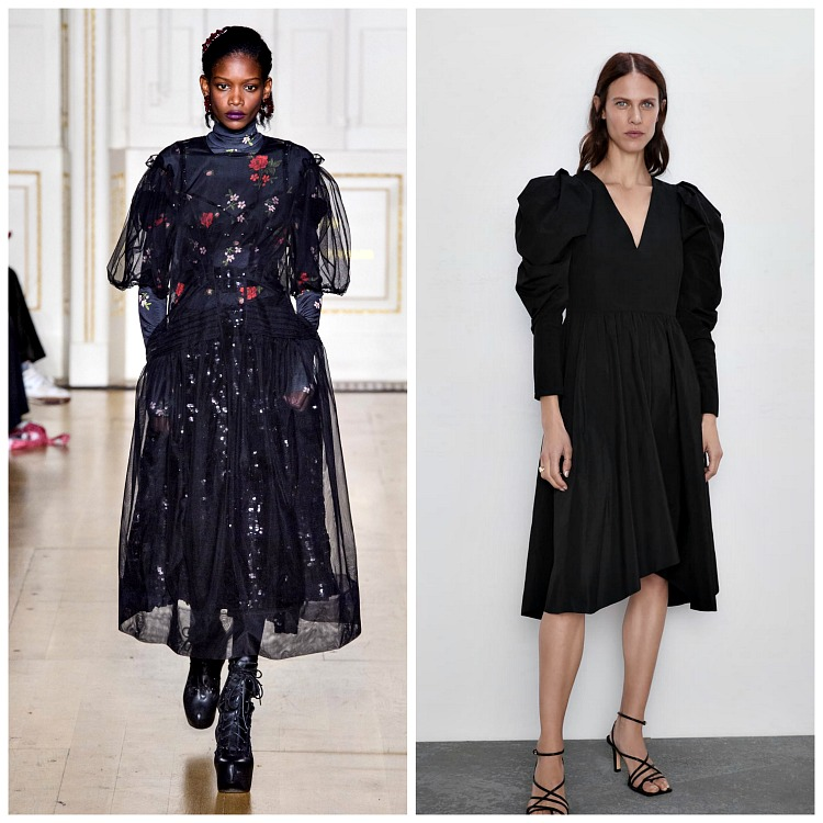 Left: Simone Rocha Fall 2019 ; Right: Zara Voluminous Sleeve Dress