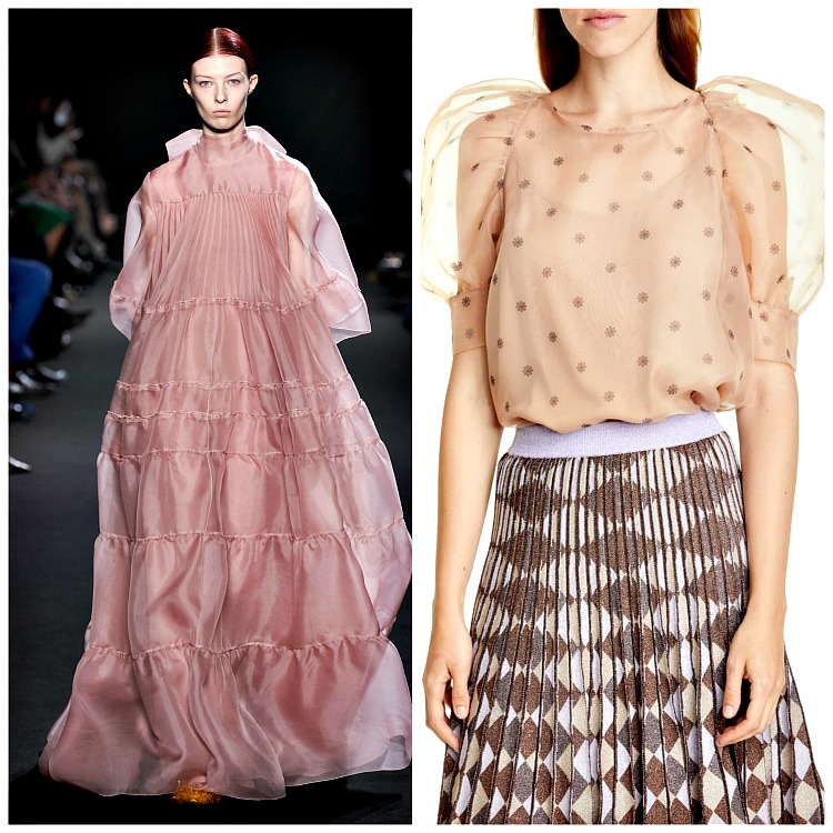 Left: Rochas; Right: Maiko Puff Sleeve Blouse