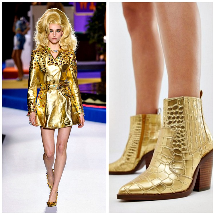 Left: Moschino Fall 2019; Right: ASOS Gold Croc Western Ankle Boots