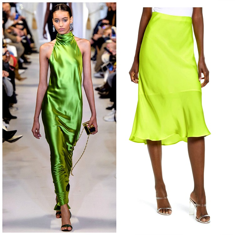 Left: Brandon Maxwell Fall 2019; Right Leith Satin Skirt