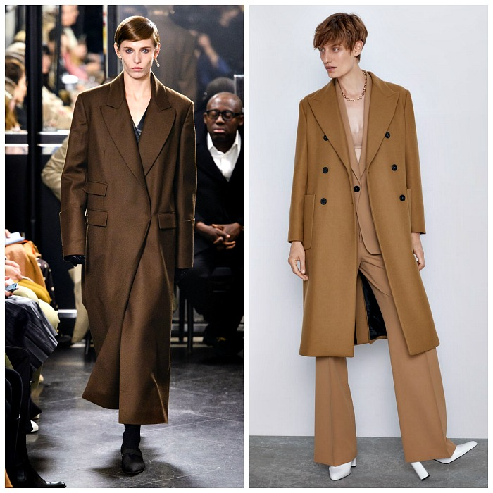 Left: Emilia Wickstead Fall 2019; Zara Long Pocket Coat