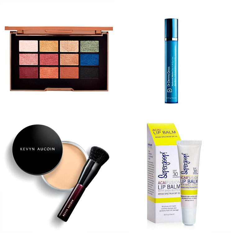 Clockwise:  Charlotte Tillbury The Icons Palette, $65; Dr. Dennis Gross Dew It Right Eye Gel, $48; Kevyn Aucoin Foundation Balm, $52; SuperGoop AcaiFusion Lip Balm, $9.50