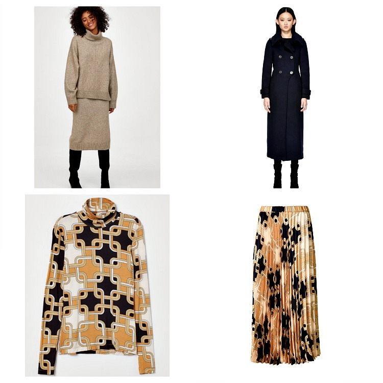 From left to right:  H& M Knit Sweater and Skirt set , $29.99-$34.99;  Mackage Elodie Wool Coat in Navy , $790;  Richard Allen X H&M Pleated Satin Skirt  (currently sold out);  Richard Allen x H & M Modal Turtleneck , $9.99