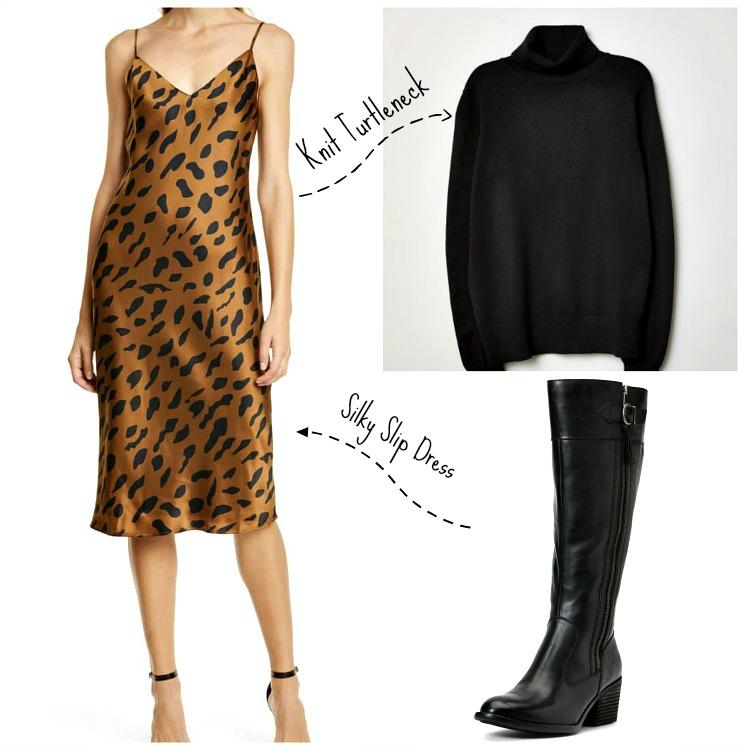 Slipdress:   L'Agence Jodi Cheetah Slipdress  ;   H & M Knit Turtleneck  ;   Born Uchee Knee High Boot