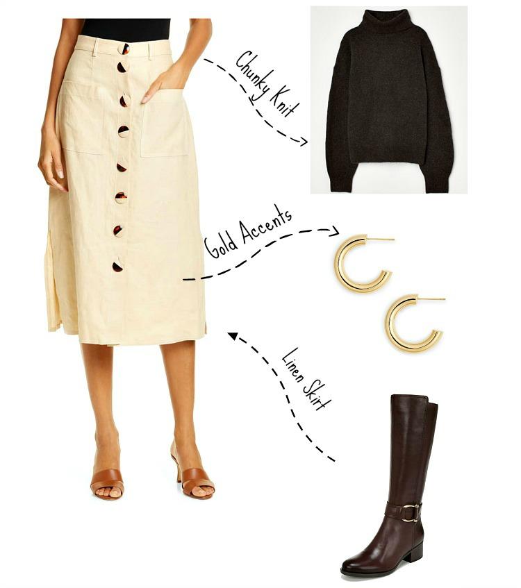 Linen Skirt:   NICHOLAS Button Front Midi Skirt  ;   H & M Chunky Turtleneck Sweater   ;    Jennifer Zeuner Lou Hoop Earrings   ;    Naturalizer Daelynn Tall Boot