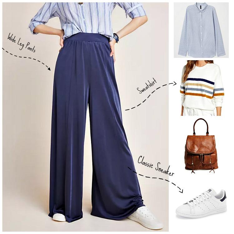 Wide Leg Pants:   Anthropologie Shiloh Knit Wide Leg Pants   ;    H&M Cotton Shirt   ;    Lou & Grey Fuzzy Terry Sweatshirt   ;     Sole Society Emery Backpack   ;    Adidas Stan Smith Sneakers