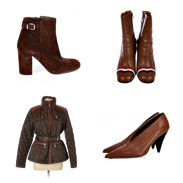 From left to right: J.Crew Ankle Boots from ThredUp; Loewe Ankle Boots from TheRealReal; Vince Camuto Quilted Jacket from ThredUp; Celine by Phoebe Philo Heels from TheRealReal  *I am only now realizing how many brown/tan items I have purchased. What can I say? It's a classic fall color that goes well with tons of other colors.