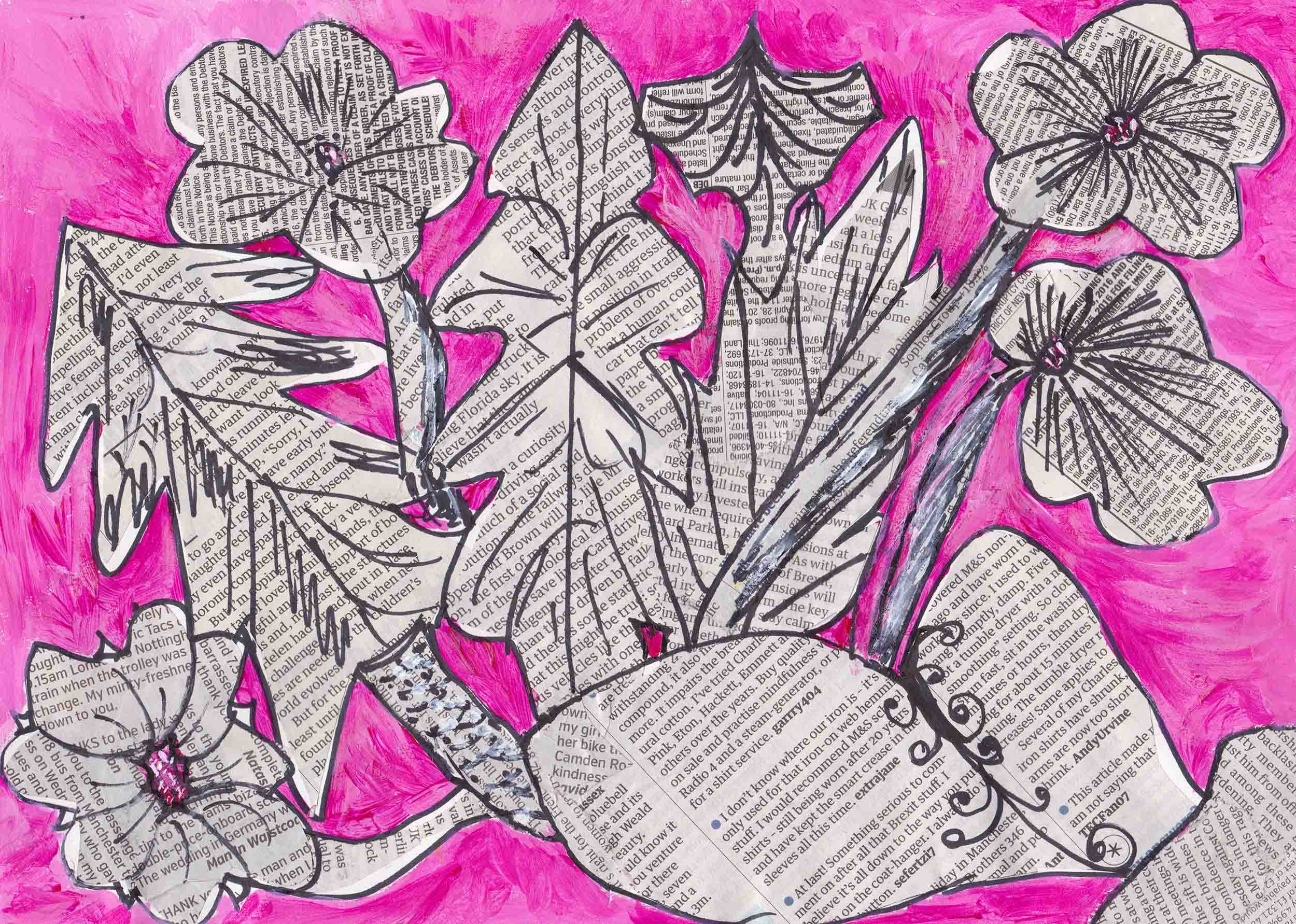 Flowers: Drawing and collage