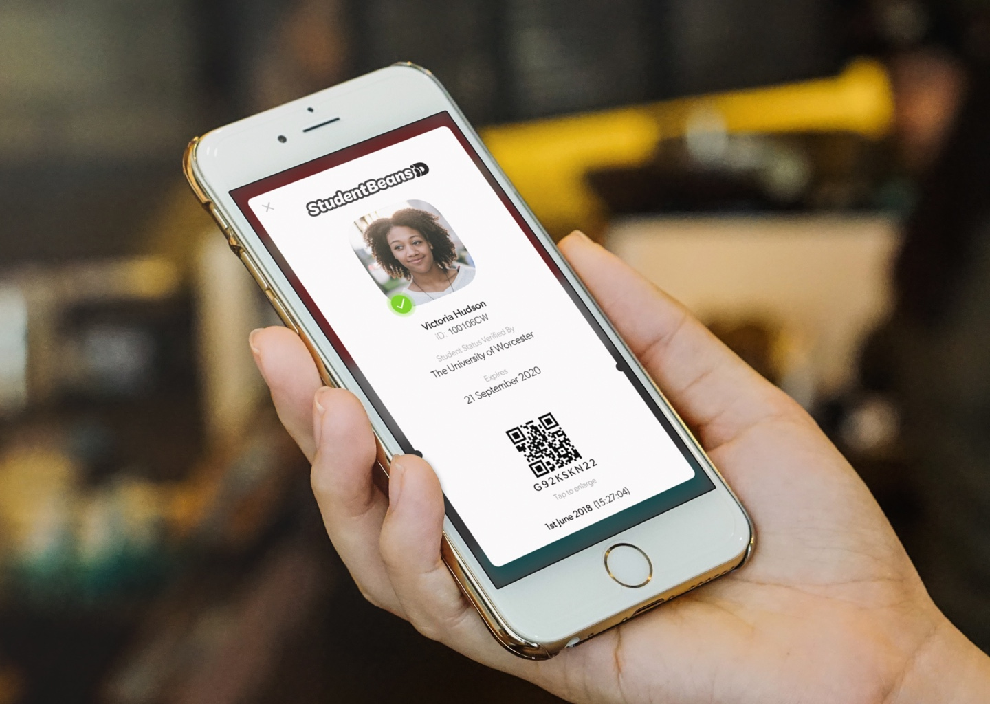 Student Beans iD - When ready to pay customers simply show their Student Beans iD at checkout to complete their purchase.SBiD is 100% secure and cannot be faked like plastic student cards, free for all students & officially verified by schools, colleges and universities.
