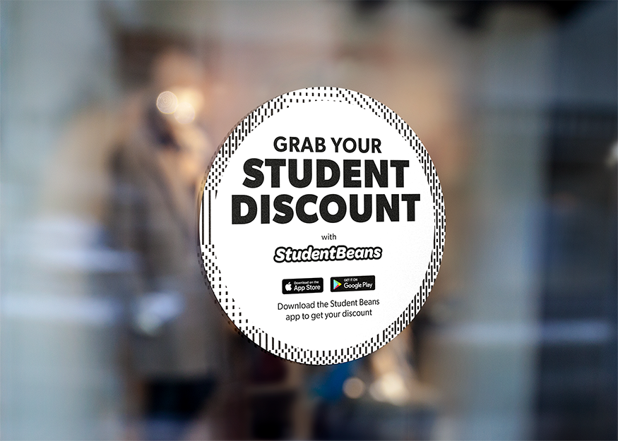 Attract more footfall and repeat visits - Show students you offer a Student Beans discount and ensure they don't have a reason to go next door with our well recognised window stickers.