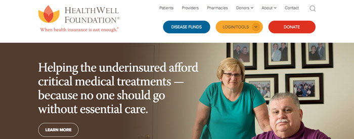 HealthWell Foundation Website  The HealthWell Foundation helps the underinsured pay for critical medical treatments. Design Positive brought me in to help streamline the foundation's complex site—to make it easier for the patients, families and health care providers who use it to get the information and support they need. I collaborated with the designer and with HealthWell to keep the copy clean, clear—and user-friendly.  CLIENT: Design Positive (copywriting)