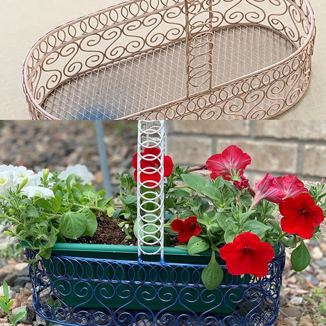 Before and after #diy #decor #decorating we turned a wire basket into a cute Fourth of July planter! #fourthofjuly #summer #nautical #summer #writerslife #writer #mom #momlife more to come! #creative
