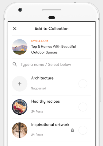 Save to your Mix collections from any app's share menu