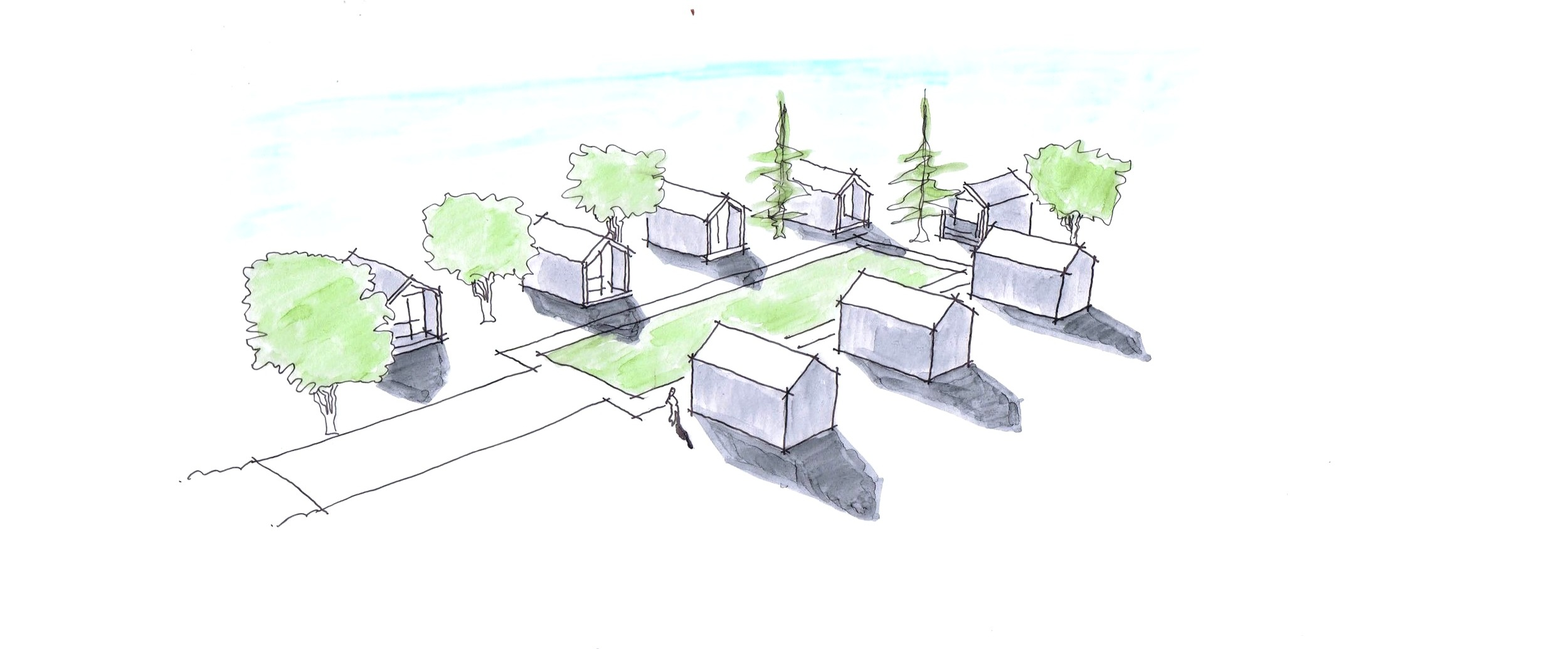 TINY HOME VILLAGE CONCEPT - The purpose of this project was to investigate potential options for providing emergency housing on Tr'ondek Hwech'in Settlement Land parcel R-20A.
