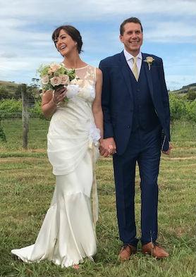 Tara and Mark on their wedding day
