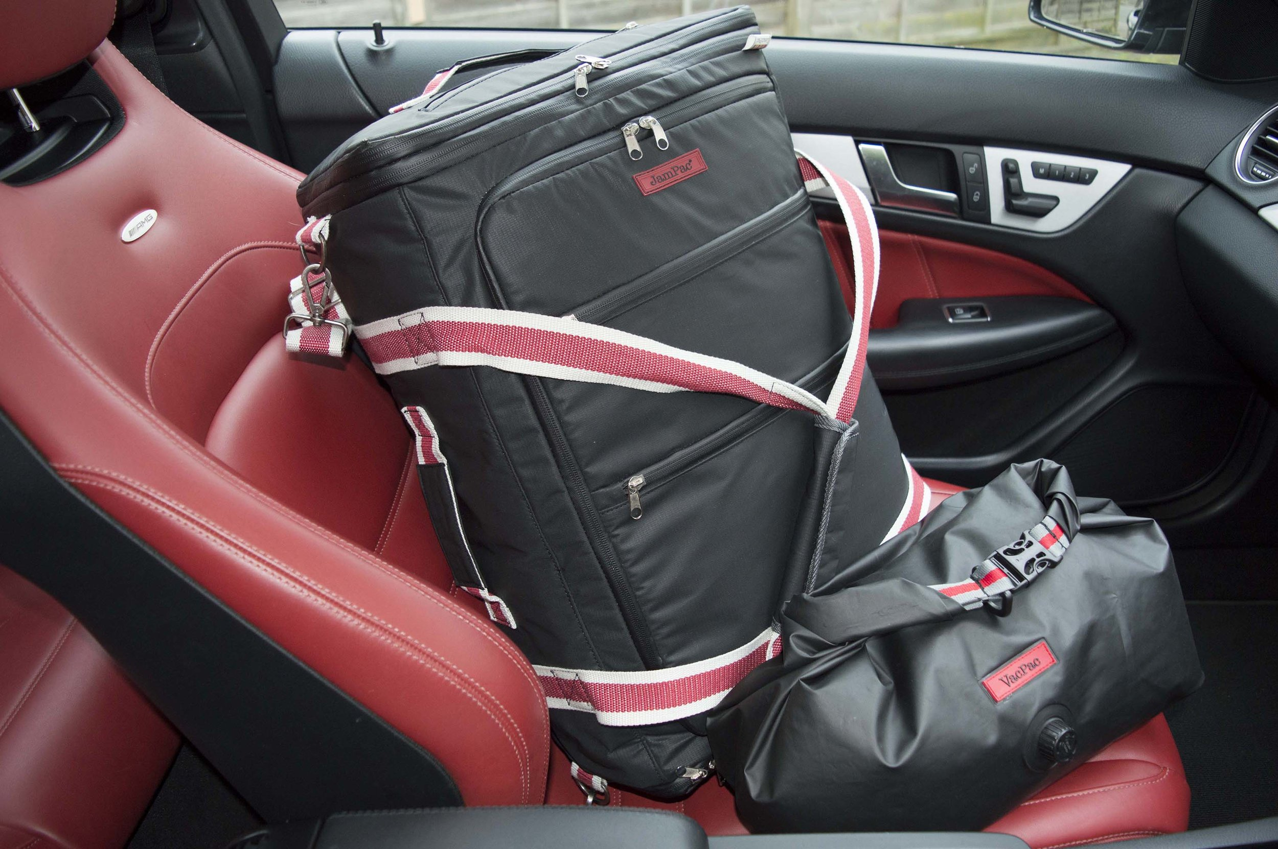 The JamPac® travel backpack & dry bag packing organiser VacPac looking good in a colour coordinated cool ride
