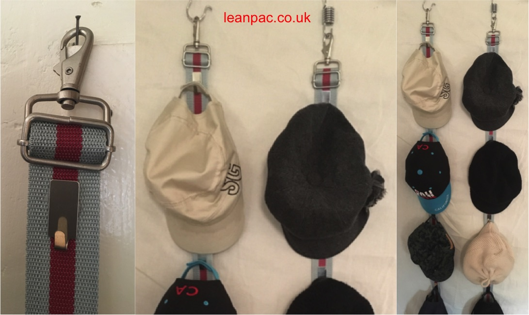 "£1 shop hooks glued to the webbing with swivel hooks. A caps ""stand""! Good space utilisation (use of empty wall space) and keeps the shape (quality) of caps. You see it, you use it (inventory waste)!"