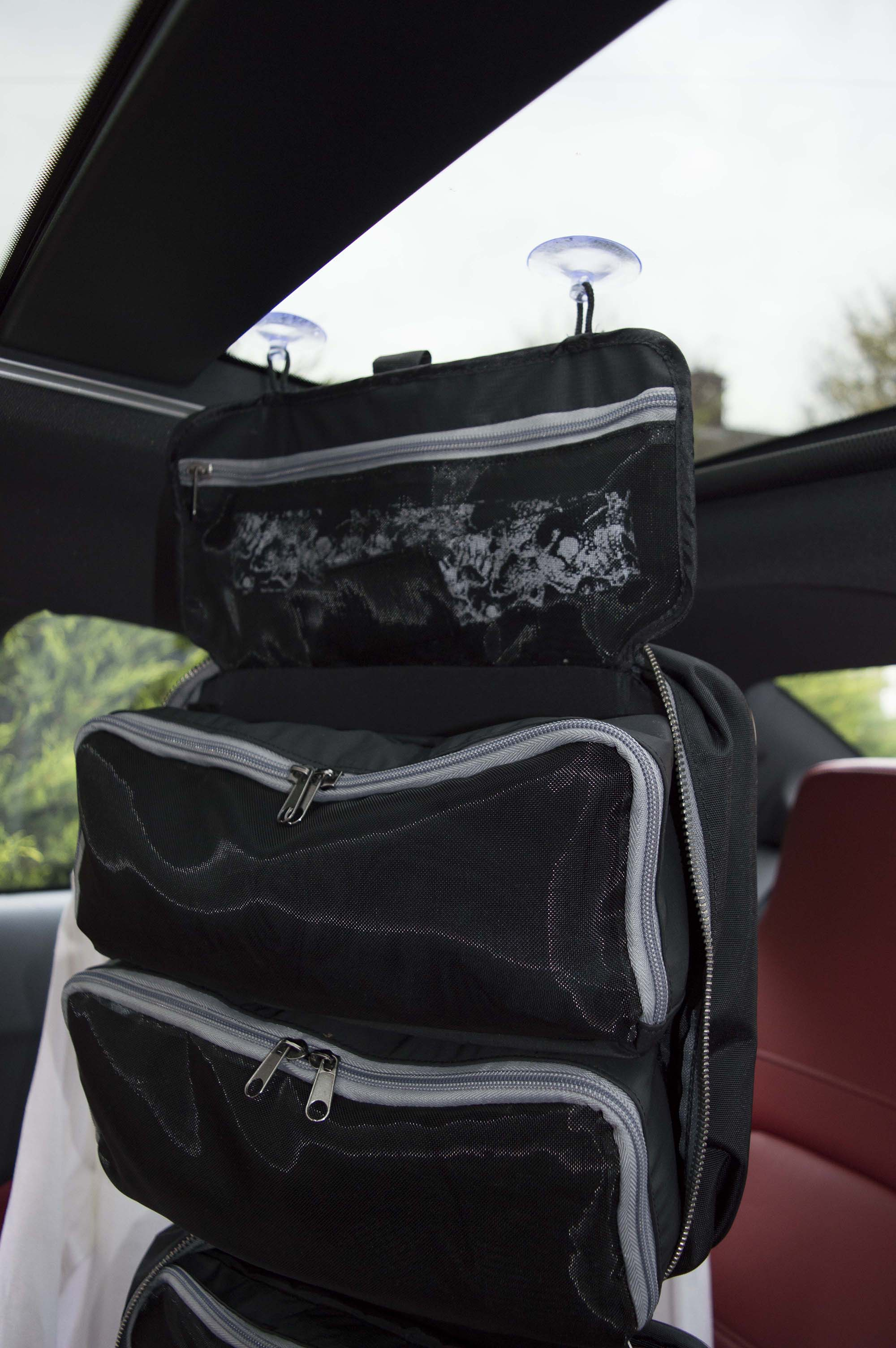 Travelling by car? Check out our HangPac suction cups on the sunroof (or window)! A very large toiletry/overnight bag with 2 medium and 1 large removable pockets.
