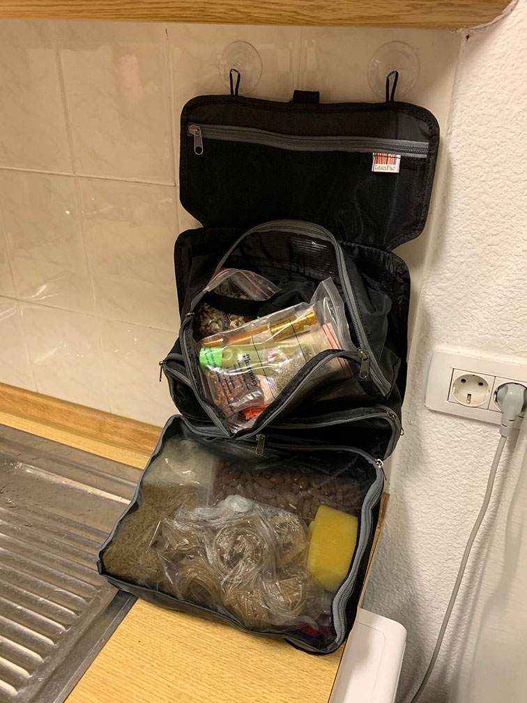 Food stuff in a toiletry bag?! Why not?! Self catering? Herb & spices in one, carbs & condiments in another! Home away from home for people who are particular about their meals away from home.