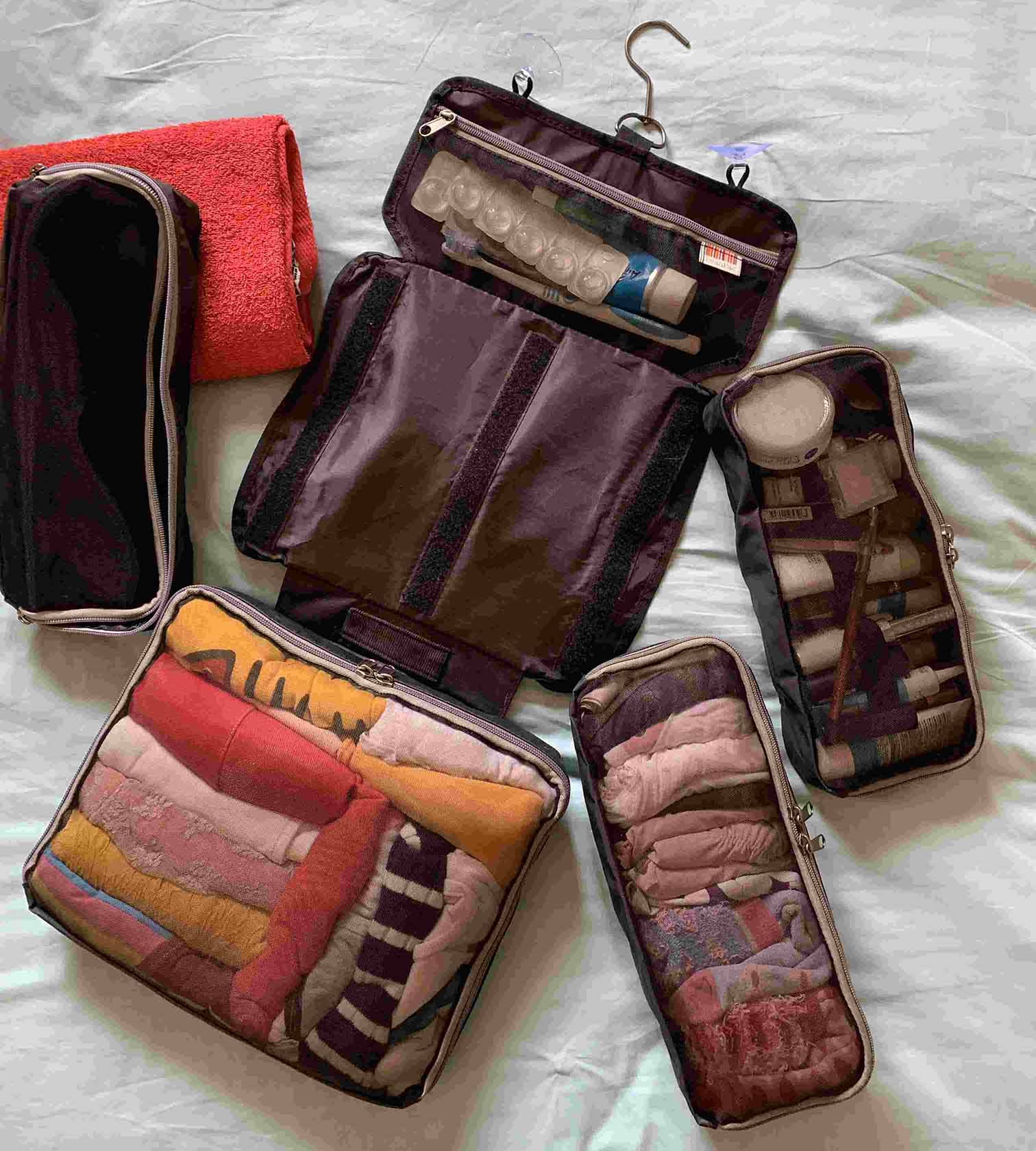 HangPac, extra large toiletry bag that works as overnight bag to pack & hold all you need! A pocket for each occasion and optional extra pockets available. Make-up, toiletries, cables, clothes?