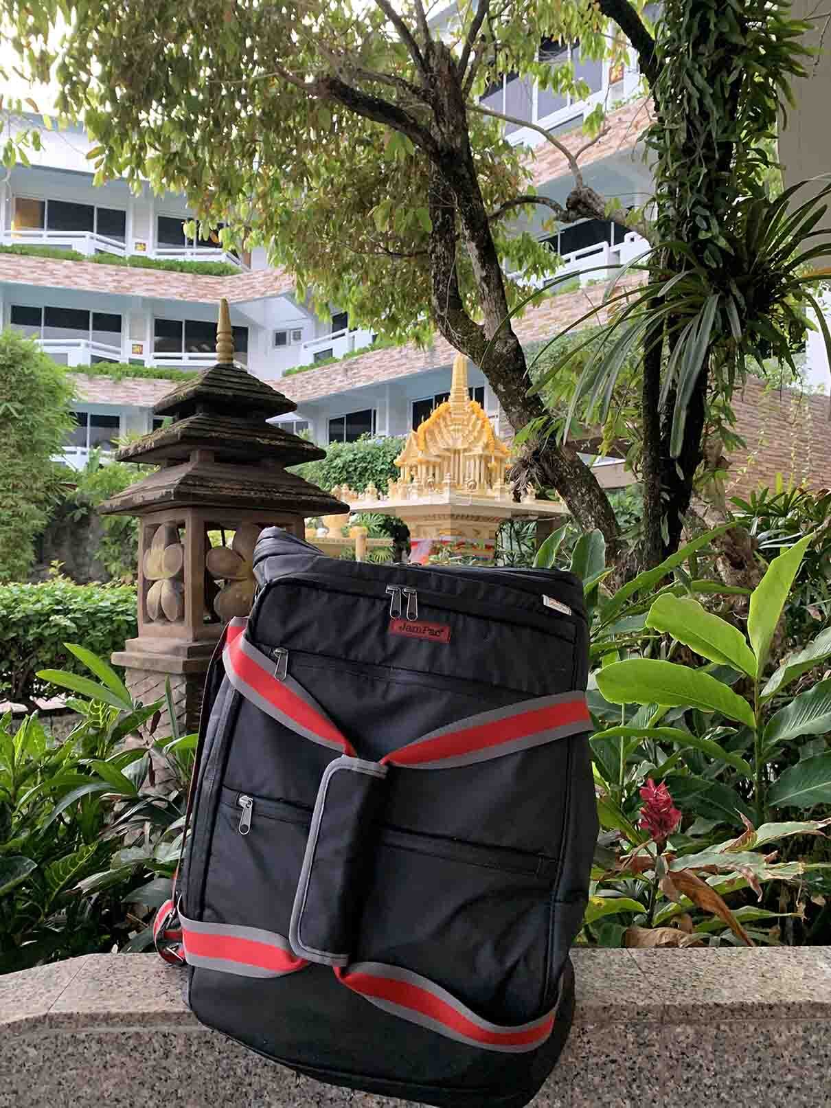 JamPac, a large, pliable & versatile backpack. A great travel companion, ready to travel with you anywhere! It's in Phuket currently! Get yours!