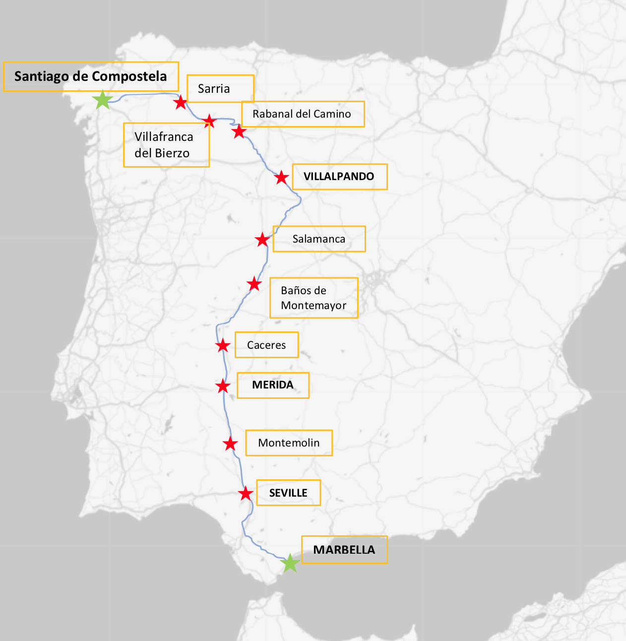 We will ride this route. 1,200 kilometers beginning on April 20, 2019 until we finish in Marbella on May 3, 2019.