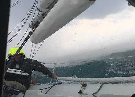 Ken Schram driving thru the storm with the crew below!