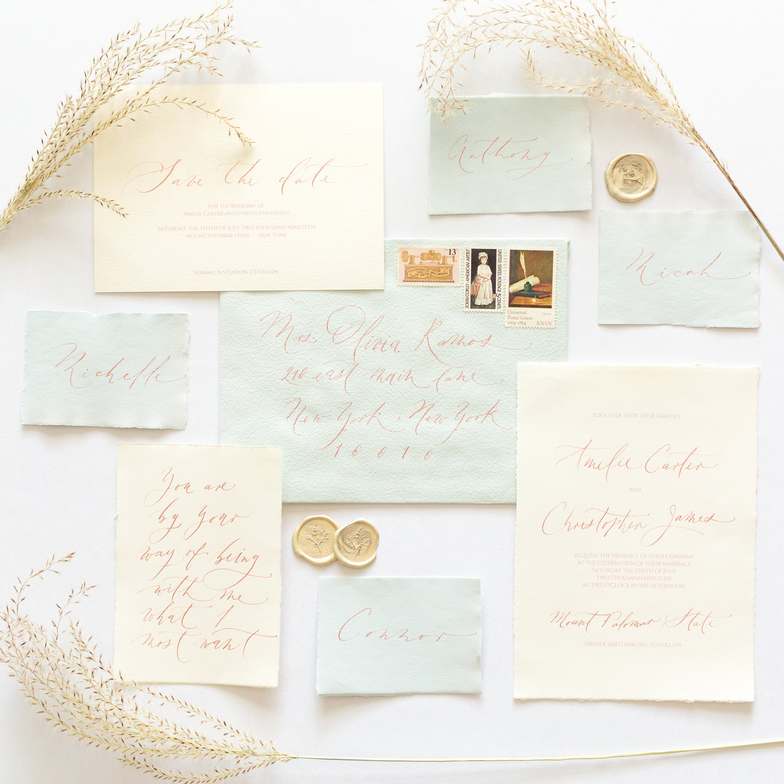 Bespoke Wedding Calligraphy Invitation Suite - Esperanza Atelier Fine Art Calligraphy. Bespoke Wedding envelope Calligraphy Houston weddings -  Houston Calligrapher.