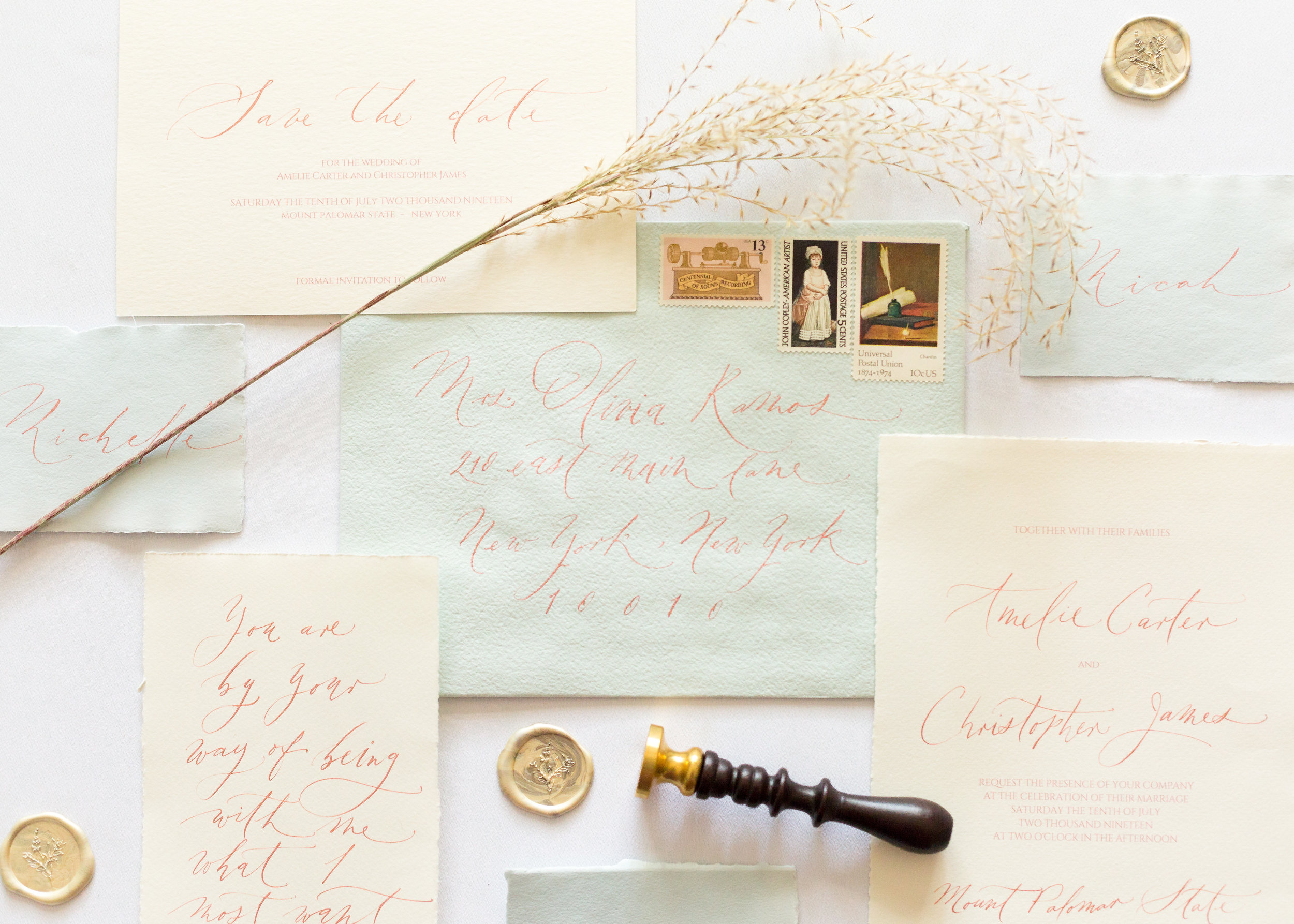 Romantic Wedding Calligraphy Invitation Suite - Esperanza Atelier Fine Art Calligraphy. Bespoke Wedding envelope Calligraphy Houston weddings -  Houston Calligrapher.