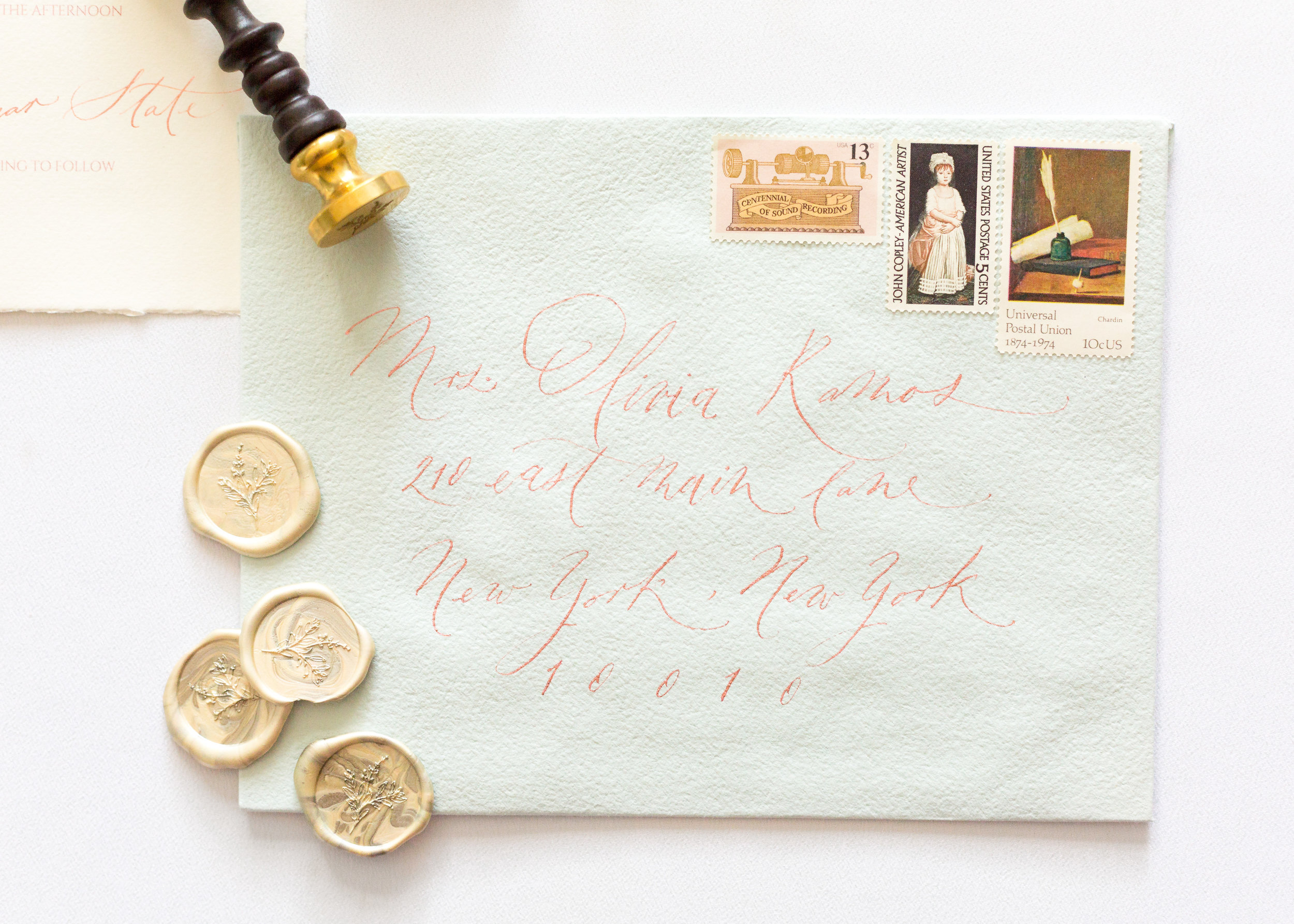 Timeless Romantic Wedding Calligraphy Envelope addressing - Esperanza Atelier Fine Art Calligraphy. Bespoke Wedding envelope Calligraphy Houston weddings -  Houston Calligrapher.