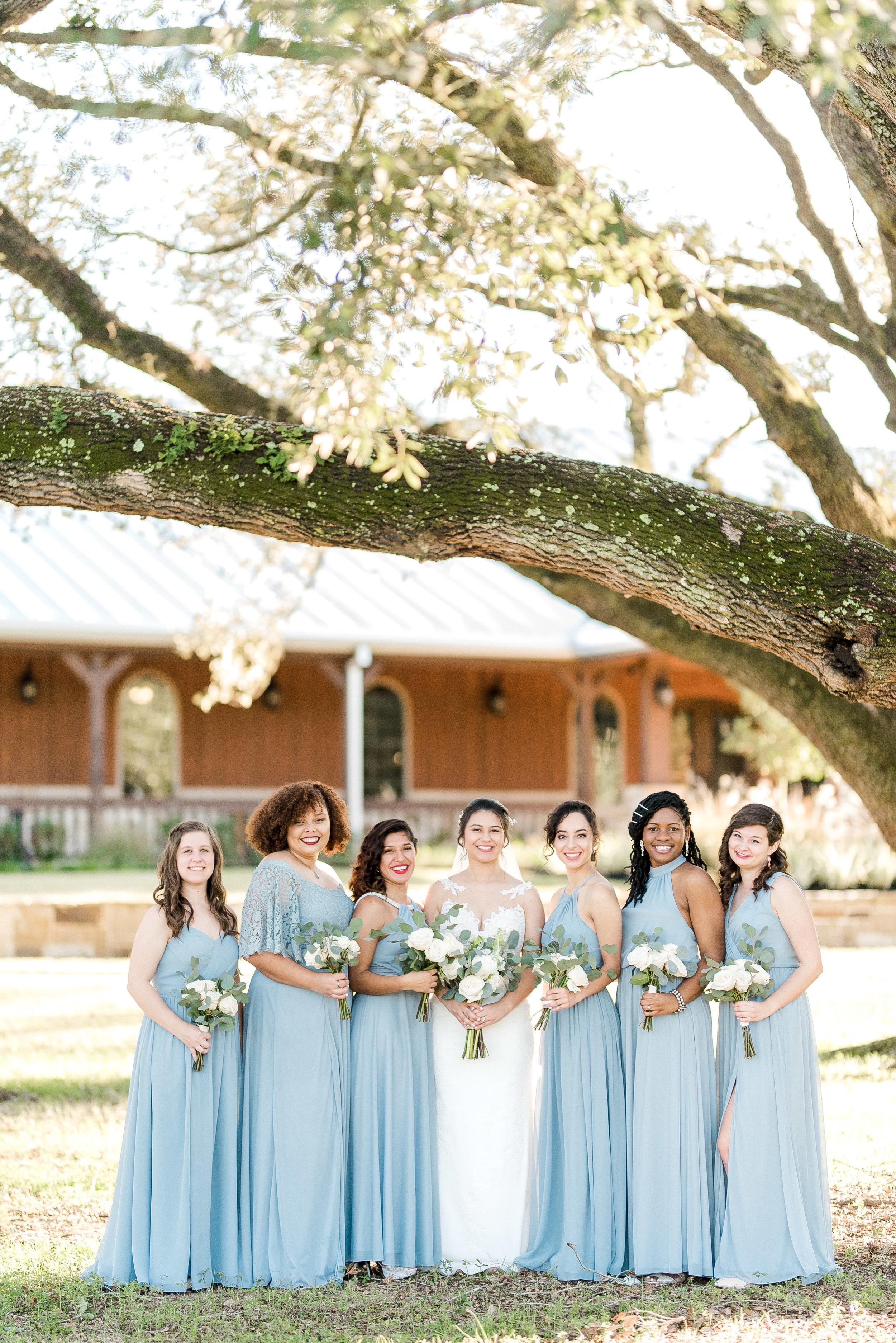 Dusty Blue Bridesmaid dresses.