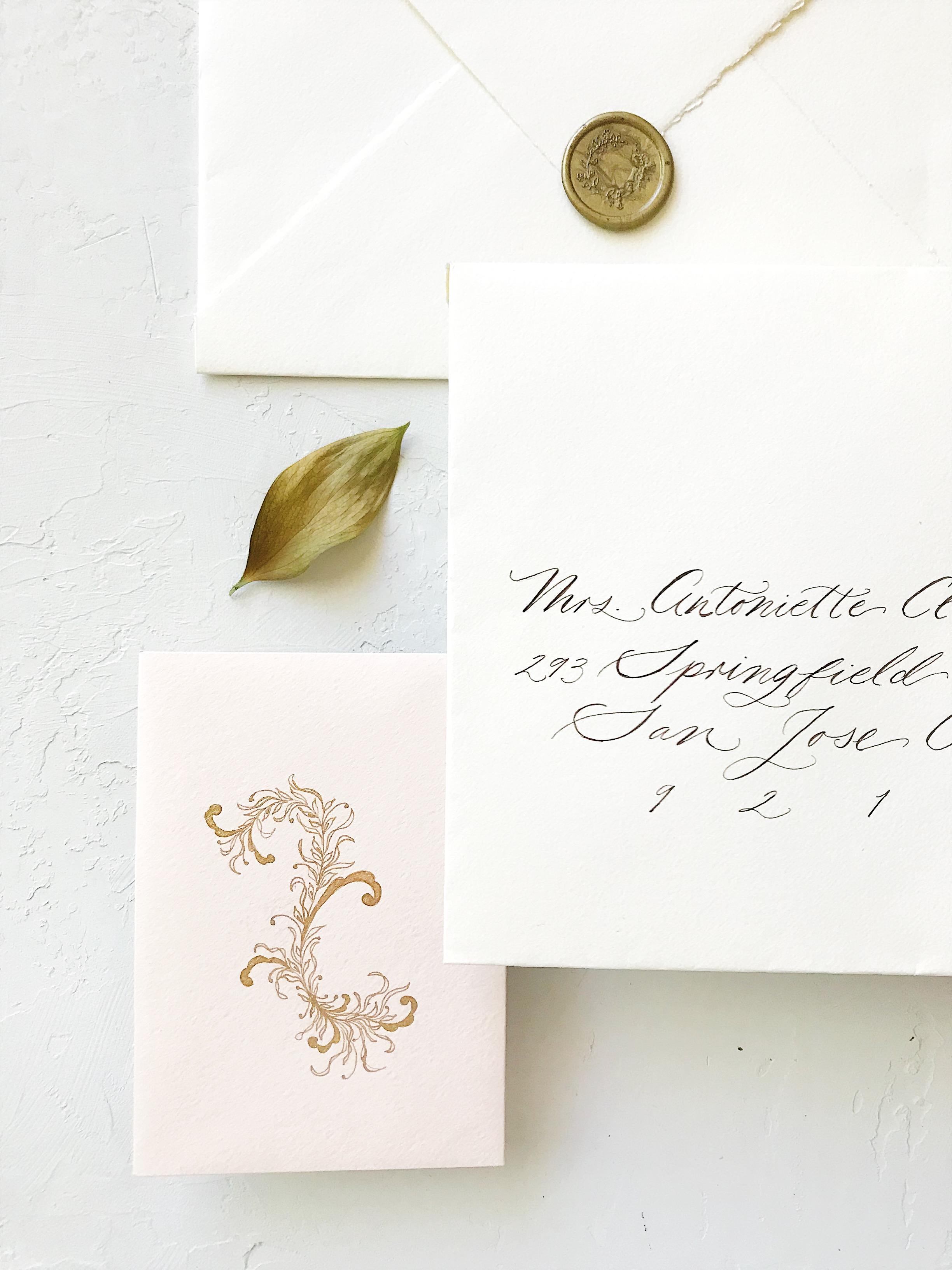 Wedding Envelope Guest Addressing. Bespoke Wedding Calligraphy Invitation Suite - Esperanza Atelier Fine Art Calligraphy.