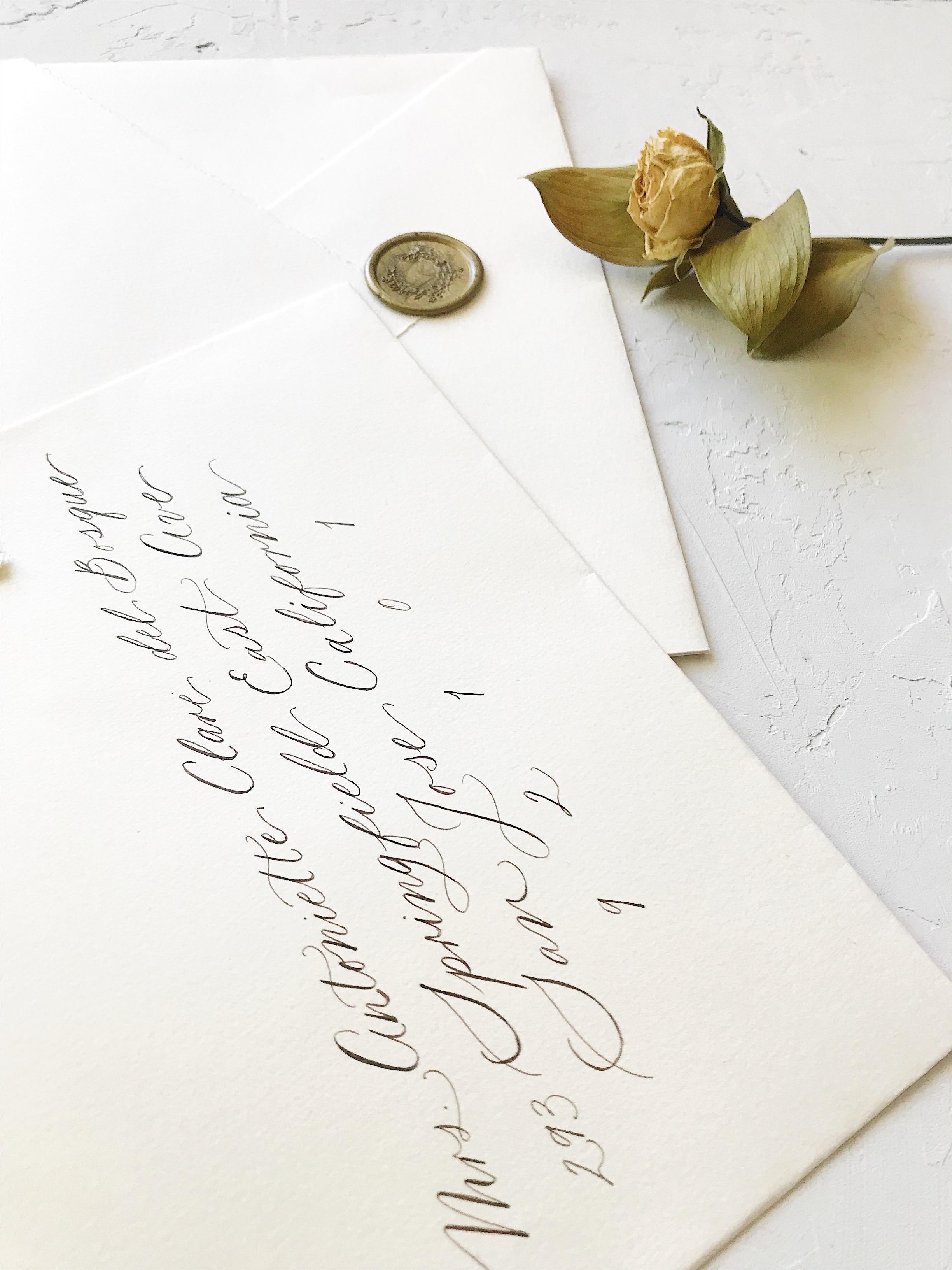Wedding Guest Envelope Addressing. Bespoke Wedding Calligraphy Invitation Suite - Esperanza Atelier Fine Art Calligraphy.