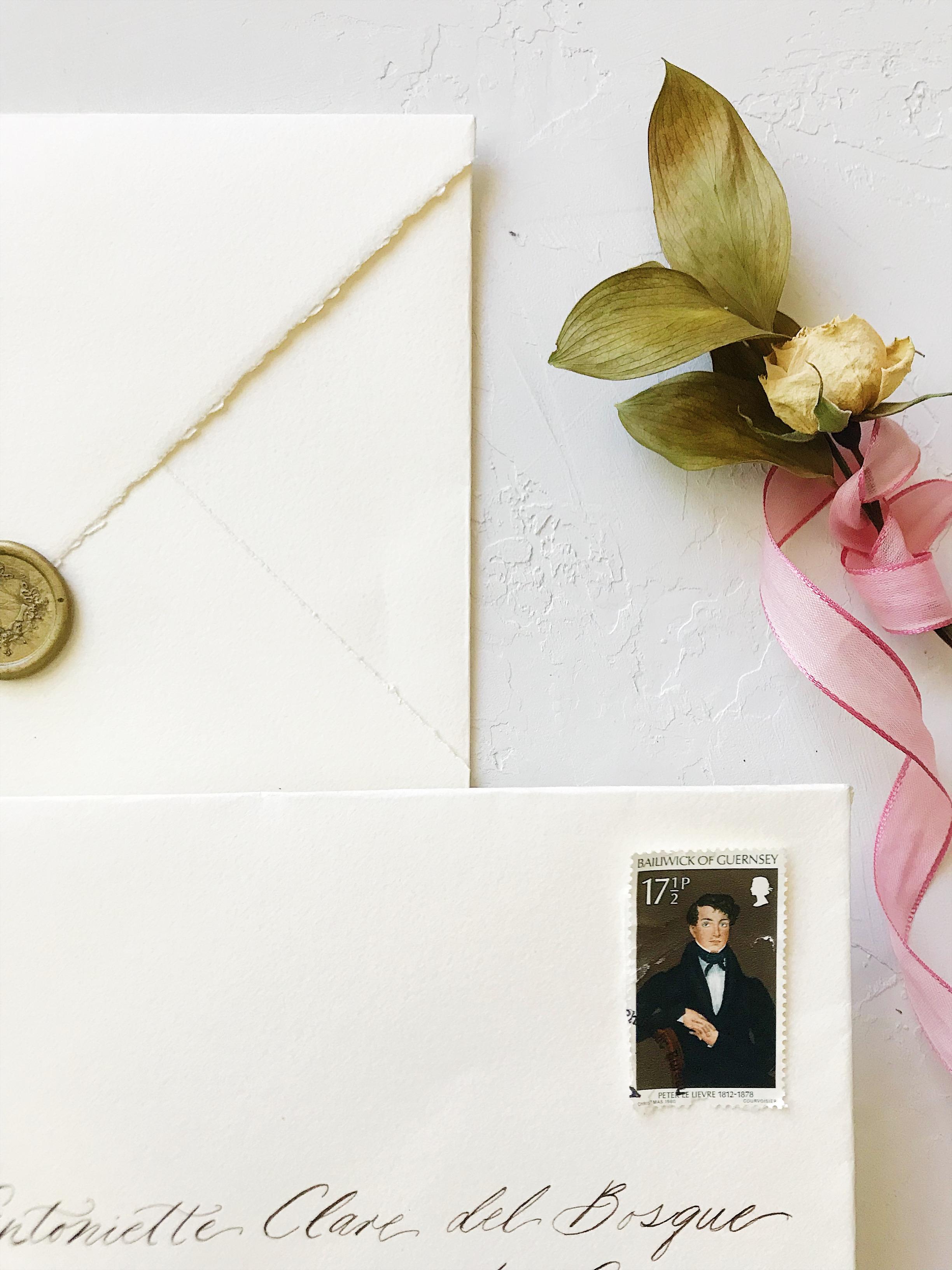 Wedding Envelope with vintage mail stamp. Bespoke Wedding Calligraphy Invitation Suite - Esperanza Atelier Fine Art Calligraphy.