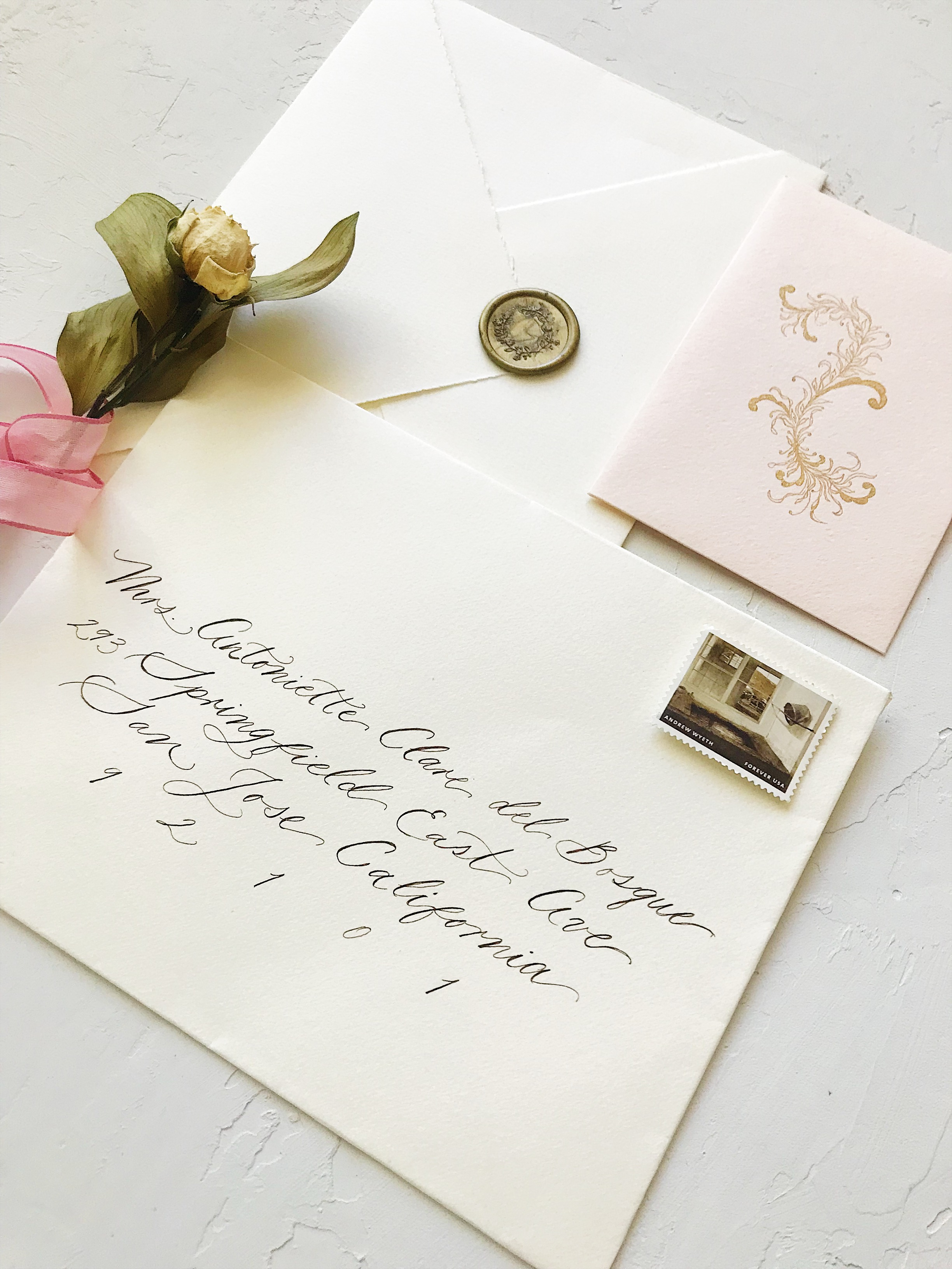 Wedding Envelope Calligraphy. Bespoke Wedding Calligraphy Invitation Suite - Esperanza Atelier Fine Art Calligraphy.