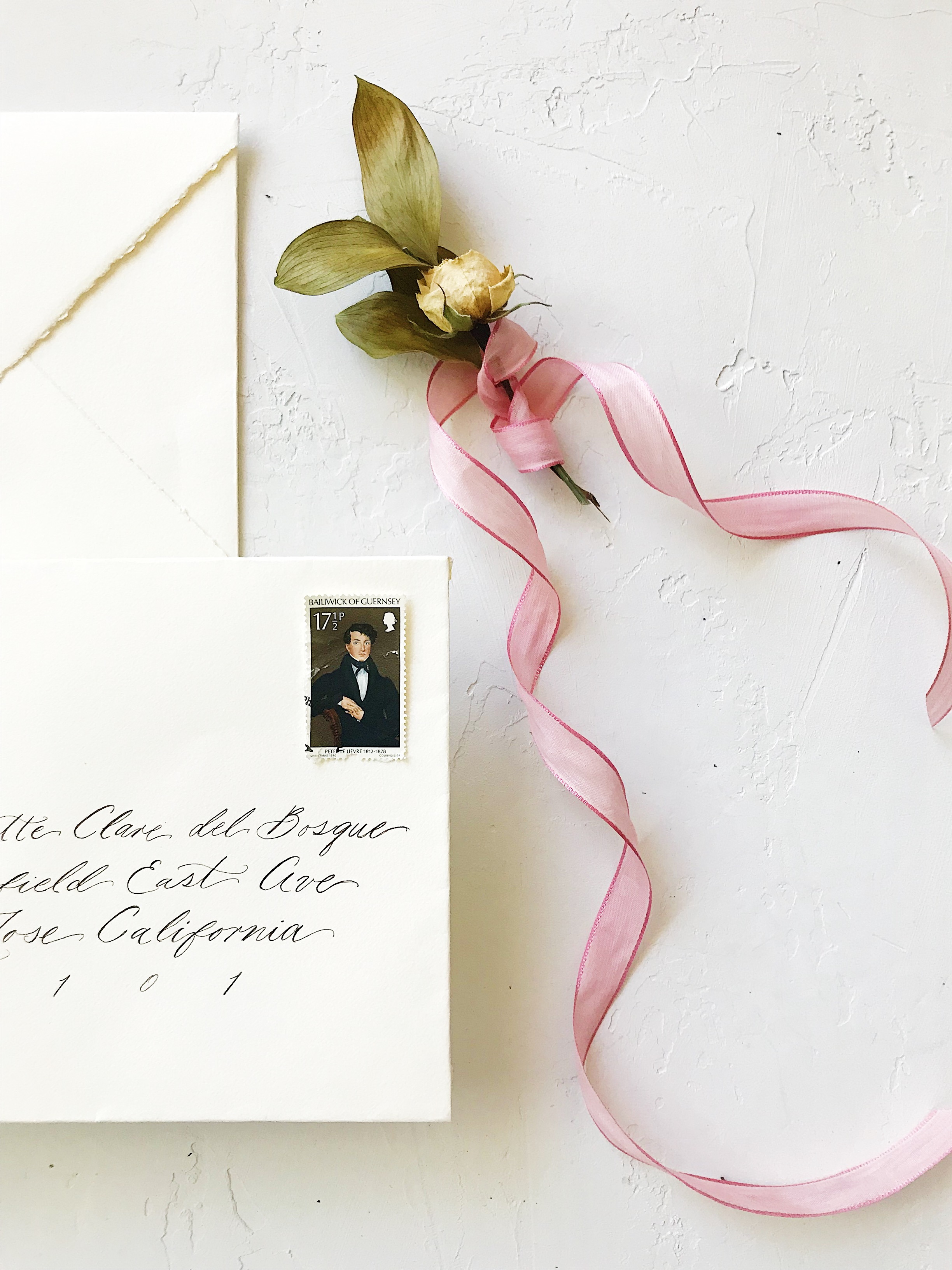 Wedding Envelope with Vintage Mail Stamp